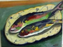 Fish on a Tray, Acrylic, 14x18, $200