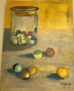 Marbles, Acrylic, 12x16, $150